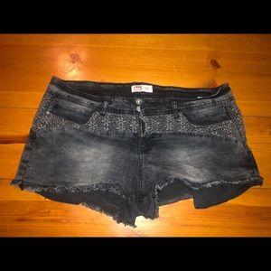 Black Worn Wash Jean Shorts